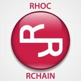 Cryptocurrency blockchain pictogram van het Rchainmuntstuk Virtueel elektronisch, Internet-geld of cryptocoin symbool, embleem stock illustratie