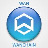 Cryptocurrency blockchain pictogram van het WanChainmuntstuk Virtueel elektronisch, Internet-geld of cryptocoin symbool, embleem vector illustratie