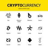 Cryptocurrency blockchain pictogrammen Reeks van virtuele munt Vector handeltekens: ethereumschrijver uit de klassieke oudheid, b stock illustratie