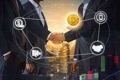 Cryptocurrency and blockchain trading and investing concept royalty free stock image