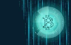 Cryptocurrency blu-chiaro del segno del bitcoin nell'obiettivo del hud Sistema online del blockchain di paga di poli commercio el Immagini Stock
