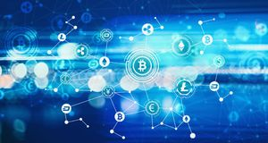Cryptocurrency with blurred abstract lights Royalty Free Stock Photos