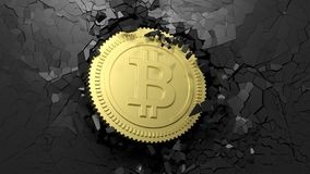 Golden bitcoin breaking forcibly through a black wall. 3d illustration. Cryptocurrency breakthrough concept. Bitcoin breaking with great force through a black Royalty Free Stock Photography