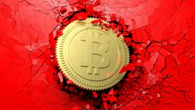 Golden bitcoin breaking forcibly through a red wall. 3d illustration. Cryptocurrency breakthrough concept. Bitcoin breaking with great force through a red wall Royalty Free Stock Photos