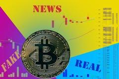Cryptocurrency BTC della moneta sul grafico e sul fondo al neon blu giallo fotografie stock libere da diritti