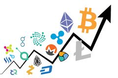 Chart showing cryptocurrency price surge. Cryptocurrency bubble - Chart showing cryptocurrency price surge Royalty Free Stock Image