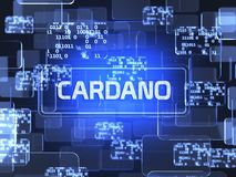 Cryptocurrency Cardano. Future technology block chain cryptocurrency Cardano blue touchscreen interface. Blockchain financial virtual money wallet screen concept Royalty Free Stock Photography