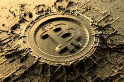 Cryptocurrency Casting Bitcoin. A microscopic closeup concept of cast or mined metal that builds up to form a physical bitcoin cryptocurrency symbol - 3D render Stock Image