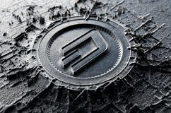 Cryptocurrency Casting Dash. A microscopic closeup concept of cast or mined metal that builds up to form a physical dash cryptocurrency symbol - 3D render Stock Photos