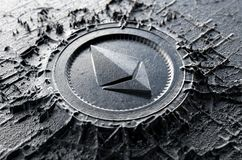 Cryptocurrency Casting Ethereum. A microscopic closeup concept of cast or mined metal that builds up to form a physical ethereum cryptocurrency symbol - 3D Stock Photo