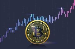 Cryptocurrency ceny wzrastają szybko na rynku, pokazywać na wykresie Obrazy Royalty Free