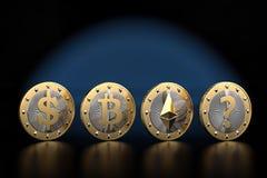 Cryptocurrency - che cosa è la GRANDE cosa seguente? Monete dorate Fotografia Stock Libera da Diritti