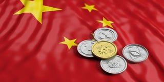 Cryptocurrency in China Gouden bitcoin en verscheidenheid van zilveren virtuele muntstukken op de vlagachtergrond van China 3D Il vector illustratie