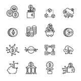 Cryptocurrency cienka kreskowa ikona ustawia 4, wektor eps10 Fotografia Stock