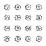 Cryptocurrency cienka kreskowa ikona ustawia 5, wektor eps10 Obraz Stock