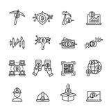 Cryptocurrency cienka kreskowa ikona ustawia 3, wektor eps10 Obraz Stock