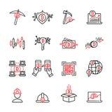 Cryptocurrency cienka kreskowa ikona ustawia 7, wektor eps10 Zdjęcie Royalty Free