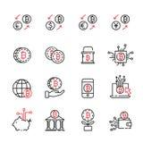 Cryptocurrency cienka kreskowa ikona ustawia 6, wektor eps10 Fotografia Stock