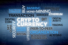 Cryptocurrency cloud tags Stock Images