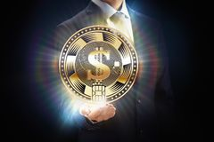 Cryptocurrency coin business mining bit concept design, block chain in hand. Crypto currency financial banking Royalty Free Stock Photo