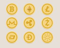 Cryptocurrency coin set bitcoin digital currency virtual royalty free illustration