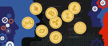 Cryptocurrency coin set bitcoin digital currency virtual money exchange royalty free illustration