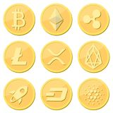 Cryptocurrency coin set: bitcoin, litecoin, ripple coin, ethereum, rpx, eos, stellar, dash, cardaro coins Golden coins with stock illustration