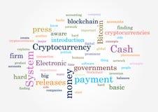 Cryptocurrency Colagem da ilustração do vetor das palavras Foto de Stock