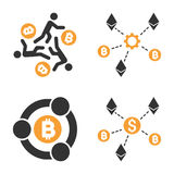 Cryptocurrency Collaboration Vector Icon Set. Style is bicolor flat symbols Royalty Free Stock Photography