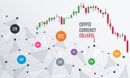 Cryptocurrency collapse. Candlestick chart. Cryptocurrency collapse or crisis. Candlestick chart. Altcoins bubble burst. Stock exchange market. Vector Stock Images