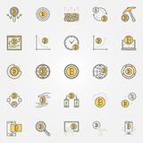 Cryptocurrency colorful icons set. Vector collection of crypto c royalty free illustration