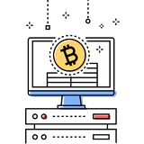 Cryptocurrency - colorful line design style conceptual illustration. On white background. High quality composition with a monitor, bitcoin symbol, server Stock Photos
