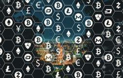 Cryptocurrency com a cidade de Mtsuyama em Japão fotos de stock