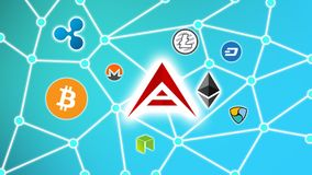 ARK Blue Background, Cryptocurrency Blockchain Network. Cryptocurrency concept background show network of coins, various connectings through blockchain networks Royalty Free Stock Image