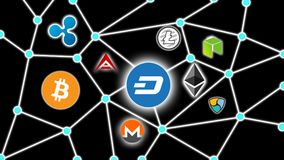 DASH Black Background, Cryptocurrency Blockchain Network. Cryptocurrency concept background show network of coins, various connectings through blockchain Stock Photography