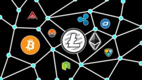 Litecoin Black Background, Cryptocurrency Blockchain Network. Cryptocurrency concept background show network of coins, various connectings through blockchain Stock Images