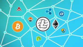 Litecoin Blue Background, Cryptocurrency Blockchain Network. Cryptocurrency concept background show network of coins, various connectings through blockchain Stock Photos