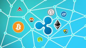 Ripple Blue Background, Cryptocurrency Blockchain Network. Cryptocurrency concept background show network of coins, various connectings through blockchain Stock Photo