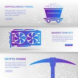 Cryptocurrency concept banner background with trolley, video car. D and pickaxe. Mining technology. Digital money. High-tech technology vector illustration Stock Photos