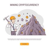 Cryptocurrency concept banner isolated. Cryptocurrency concept banner isolated, flat line design. . Businessman miner and coins. Young man with pick in helmet Stock Photos