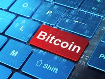 Cryptocurrency concept: Bitcoin on computer keyboard background. Cryptocurrency concept: computer keyboard with word Bitcoin on enter button background, 3D Royalty Free Stock Photos