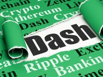 Cryptocurrency concept: black text Dash under the piece of  torn paper. Cryptocurrency concept: black text Dash under the curled piece of Green torn paper with Royalty Free Stock Photography