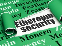 Cryptocurrency concept: black text Ethereum Security under the piece of  torn paper. Cryptocurrency concept: black text Ethereum Security under the curled piece Royalty Free Stock Image