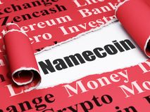 Cryptocurrency concept: black text Namecoin under the piece of  torn paper. Cryptocurrency concept: black text Namecoin under the curled piece of Red torn paper Royalty Free Stock Photo
