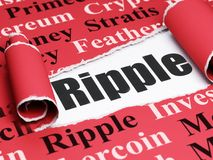 Cryptocurrency concept: black text Ripple under the piece of  torn paper. Cryptocurrency concept: black text Ripple under the curled piece of Red torn paper with Stock Images