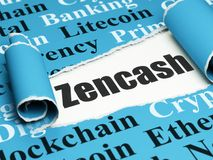 Cryptocurrency concept: black text Zencash under the piece of  torn paper. Cryptocurrency concept: black text Zencash under the curled piece of Blue torn paper Stock Image