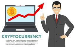Cryptocurrency concept. Businessman with computer. Up graph with bitcoin sign in flat icon design in laptop. Digital Royalty Free Stock Image