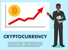 Cryptocurrency concept. Businessman and graph with trend line rising up and coin with a sign of bitcoin in flat style Stock Photo