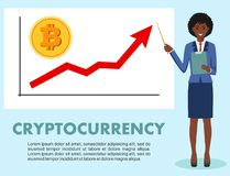 Cryptocurrency concept. Businesswoman and graph with trend line rising up and coin with a sign of bitcoin in flat style isolated. Royalty Free Stock Photo