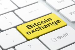 Cryptocurrency concept: Bitcoin Exchange on computer keyboard background. Cryptocurrency concept: computer keyboard with word Bitcoin Exchange, selected focus on Stock Photos